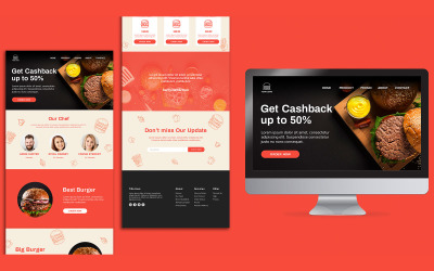 Burger Restaurant Úvodní stránka PSD šablona návrhu stránky