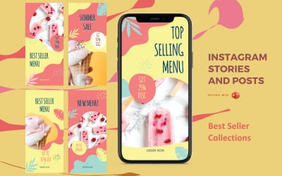Instagram Stories and Posts Powerpoint Social Media Template - Ice Cream Best Seller