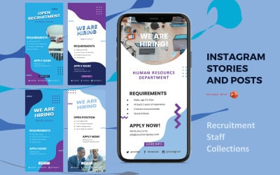 Instagram Stories and Posts Powerpoint Social Media Template - Recruitment Collection