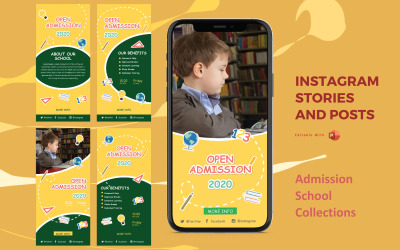 Instagram Stories and Posts Powerpoint Social Media Template - School Admission