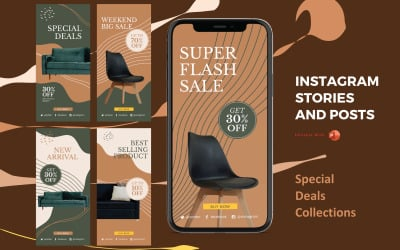 Instagram Stories and Posts Powerpoint Social Media Template - Special Deals Product