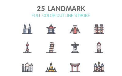 Landmark Line with Color Iconset template