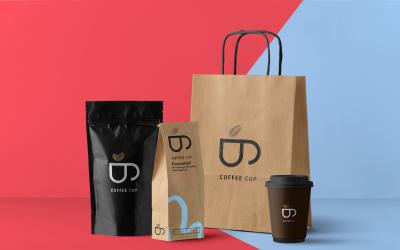 B Coffee Exlusive Product Logo template