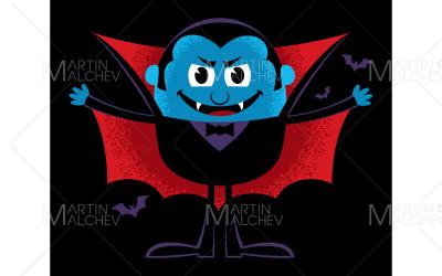 Cartoon Vampire on Black Vector Illustration