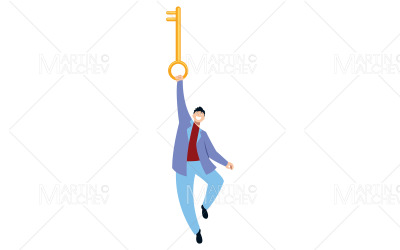 Man Holding Key Vector Illustration