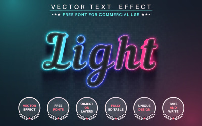 Color glow - Editable Text Effect,  Font Style Graphic Illustration