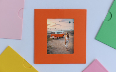 Happy Travel Photo Colorful Frame Product Mockup