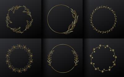 Golden Circle Flower Frame For Monogram Logo Design
