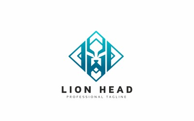 Lion Head Square Logo Template