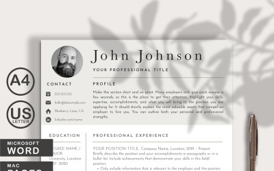 Modern Resume CV Template with Photo for WORDS and PAGES