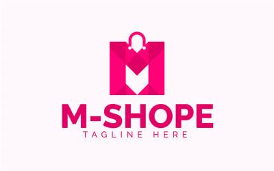 Modern Shopping Bag M Word Logo template