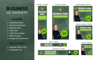 Business Banner - HTML5 Annonsmall Animerad Banner (BU006)