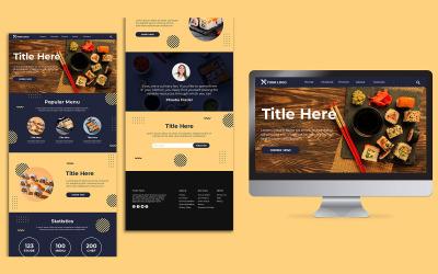 Суші-ресторан цільової сторінки дизайн шаблону PSD