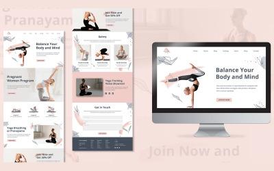 Yoga Sınıfı Açılış Sayfası Tasarımı PSD Şablonu