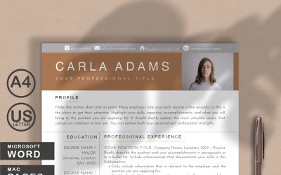 Carla Adams Clean Modern Resume Template for WORD and PAGES