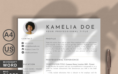 Kamelia Doe Resume Template Word and Pages With Picture