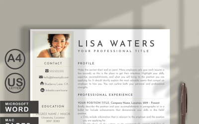 Lisa Waters Professional Resume Template for WORD and PAGES