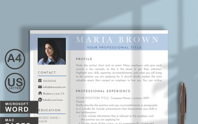 Maria Brown Resume Template for WORDS and PAGES