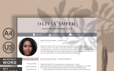 Olivia Smith Modern Resume CV template for WORDS and PAGES