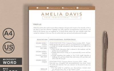 Amelia Resume Template Word + Pages