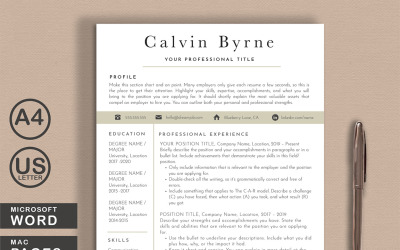 Calvin Word Pages Printable Resume Templates