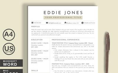 Eddie Word Pages Printable Resume Templates