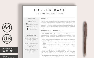 Harper Resume Template Word + Pages