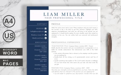 Liam Resume Template Word + Pages
