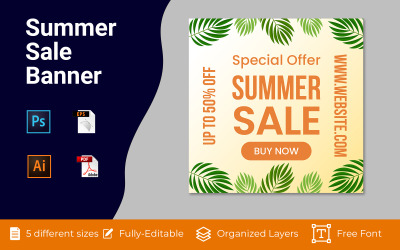 Summer Sale Social Ad Banner Background