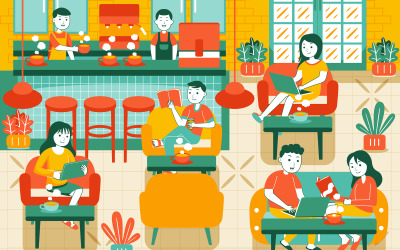 People in Cozy Cafe - Vector Illustration #01