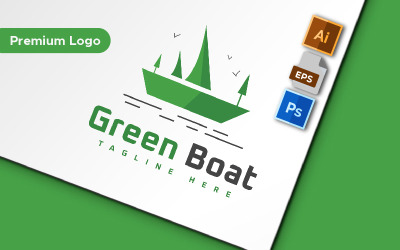 Green Boat Minimalist Logo Template