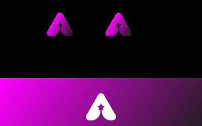 Modern Alphabet  A and Star Logo template
