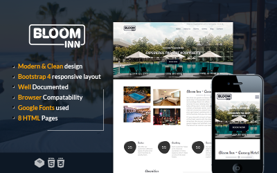 Bloom Inn   Hotel, Restaurant and Resort Website Template