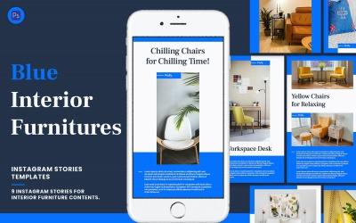 Blue Interior Furniture Instagram Stories Template