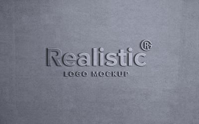 Realistic Metal Logo Mockup Sign