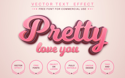 Pretty Love You - Editable Text Effect, Font Style, Graphics Illustration