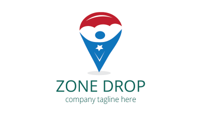 Zone Drop Sky Diving Logo Template
