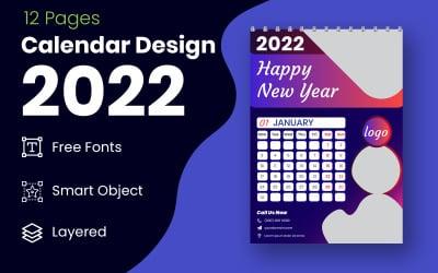 New Year 2022 Blue & Black Calendar Design Template Vector