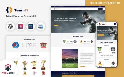 Team11 -  Cricket Responsive Website WordPress Elementor Theme