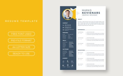 Templates Black and Yellow Resume layout