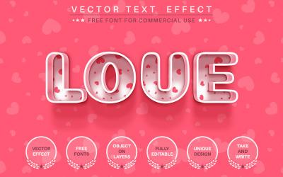 Amor do coração - efeito de texto editável, estilo de fonte, ilustração de estilo gráfico