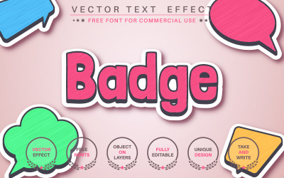 Badge With Shadow Editable Text Effect, Font Style, Graphics Illustration