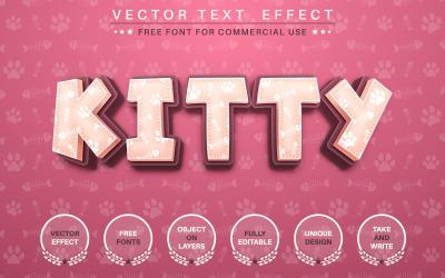 Kitty Footprint - efeito de texto editável, estilo de fonte, ilustração gráfica