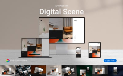 Digital Scene PSD Mockup Set