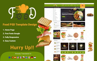 Étel - Online rendelés e-kereskedelmi PSD sablonhoz