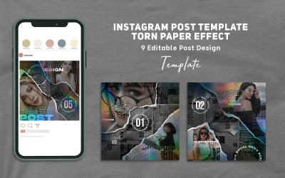 Instagram Post Template Torn Paper Effect