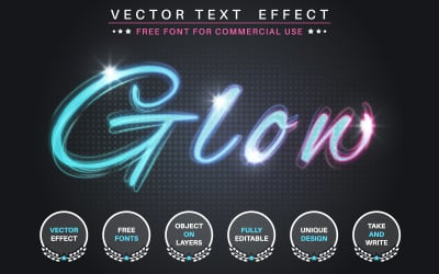 Glow Flash Stroke - Editable Text Effect, Font Style, Graphics Illustration