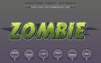 Zombie Editable Text Effect, Font Style, Graphics Illustration