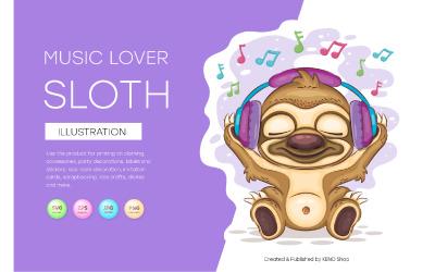 Sloth Music Lover, Cute Clipart, Vector