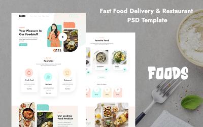 Plantilla PSD de restaurante de entrega de comida rápida